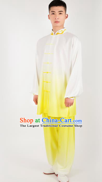 Chinese Traditional Martial Arts Competition Yellow Silk Costume Kung Fu Tai Chi Training Clothing for Men