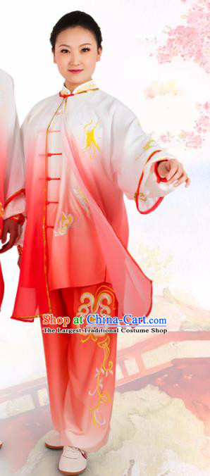 Chinese Traditional Martial Arts Red Costume Best Kung Fu Competition Tai Chi Training Clothing for Women