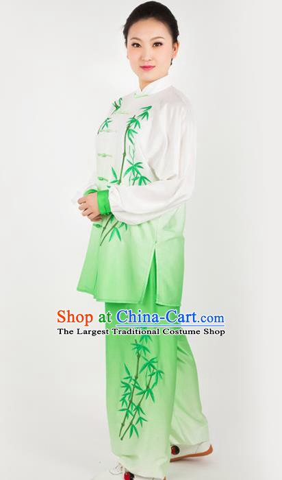 Chinese Traditional Martial Arts Green Costume Best Kung Fu Competition Tai Chi Training Clothing for Women