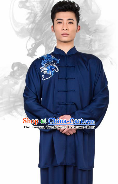Chinese Traditional Martial Arts Competition Embroidered Dragon Navy Costume Kung Fu Tai Chi Training Clothing for Men