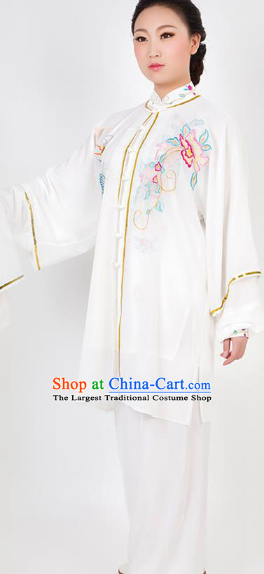 Chinese Traditional Martial Arts Embroidered Peony White Costume Best Kung Fu Competition Tai Chi Training Clothing for Women