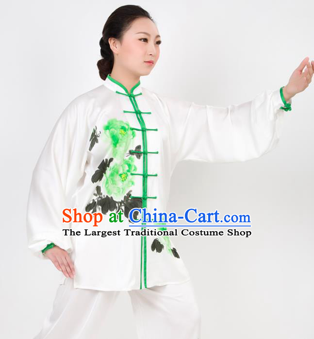 Chinese Traditional Martial Arts Printing Peony Costume Best Kung Fu Competition Tai Chi Training Clothing for Women