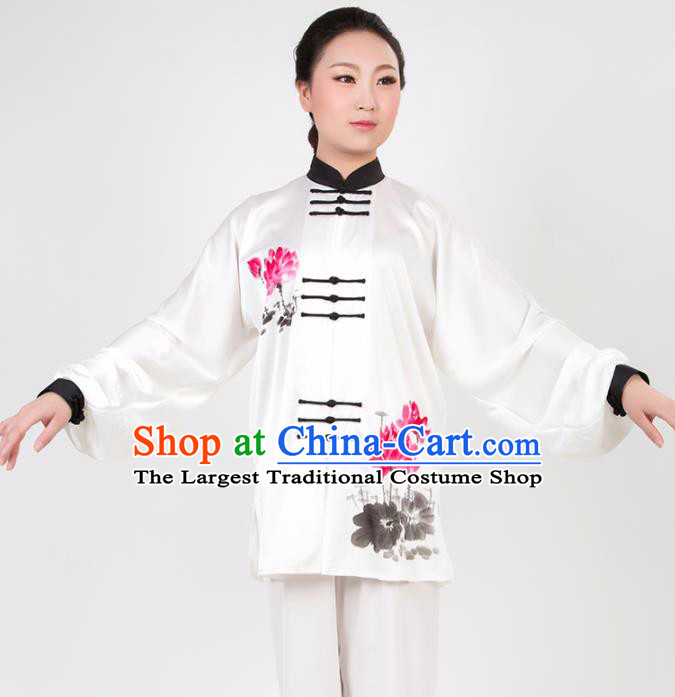 Chinese Traditional Martial Arts Printing Lotus Costume Best Kung Fu Competition Tai Chi Training Clothing for Women