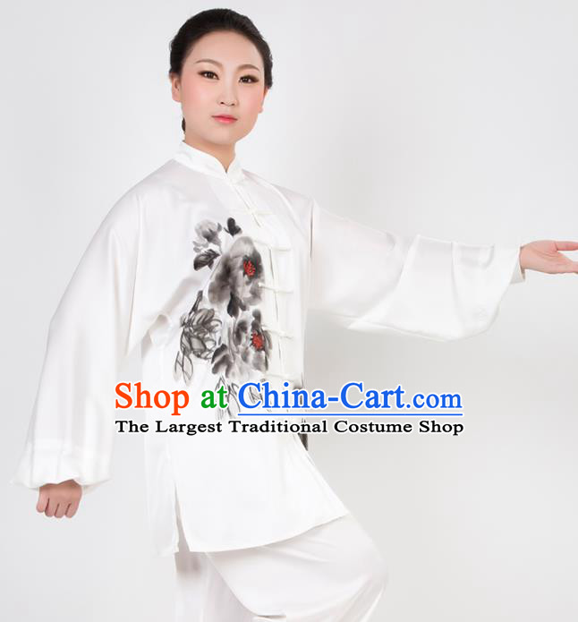 Chinese Traditional Martial Arts Ink Painting Peony Costume Best Kung Fu Competition Tai Chi Training Clothing for Women