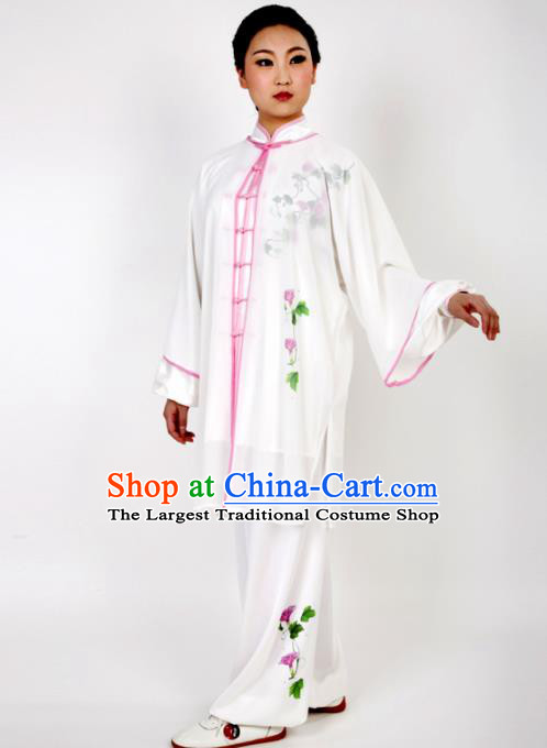 Chinese Traditional Martial Arts Printing Petunia White Costume Best Kung Fu Competition Tai Chi Training Clothing for Women