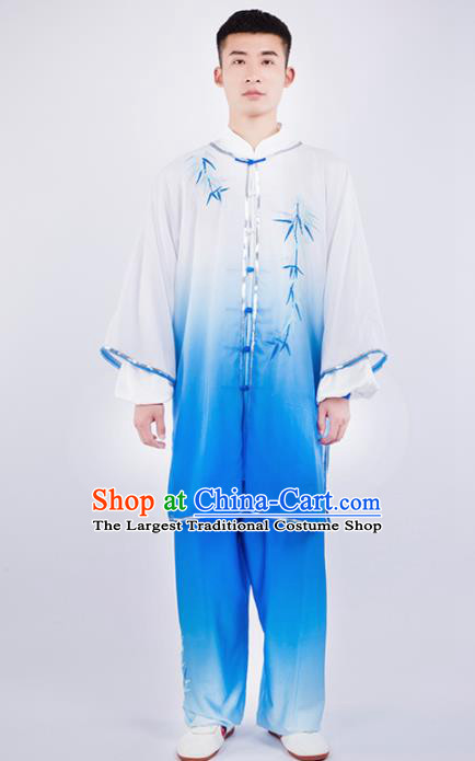 Chinese Traditional Martial Arts Competition Embroidered Bamboo Blue Costume Kung Fu Tai Chi Training Clothing for Men