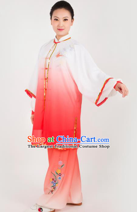 Chinese Traditional Martial Arts Embroidered Butterfly Red Costume Kung Fu Competition Tai Chi Training Clothing for Women