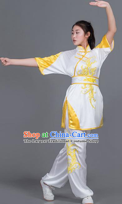 Professional Chinese Martial Arts Embroidered White Costume Traditional Kung Fu Competition Tai Chi Clothing for Women