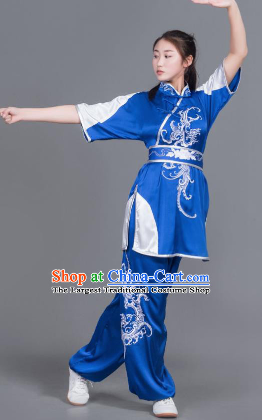 Professional Chinese Martial Arts Embroidered Royalblue Costume Traditional Kung Fu Competition Tai Chi Clothing for Women
