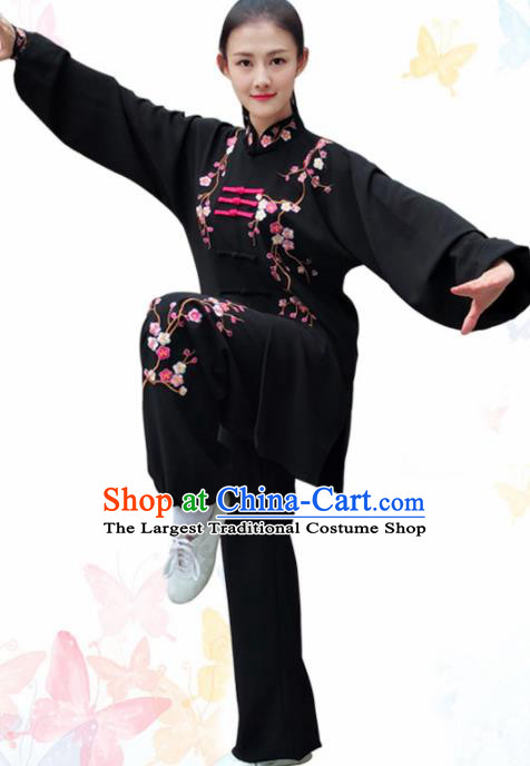 Professional Chinese Martial Arts Embroidered Plum Black Costume Traditional Kung Fu Competition Tai Chi Clothing for Women