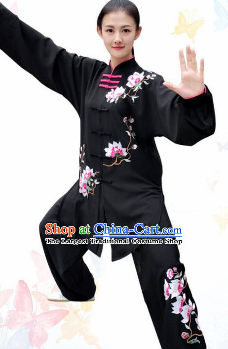 Professional Chinese Martial Arts Embroidered Magnolia Black Costume Traditional Kung Fu Competition Tai Chi Clothing for Women