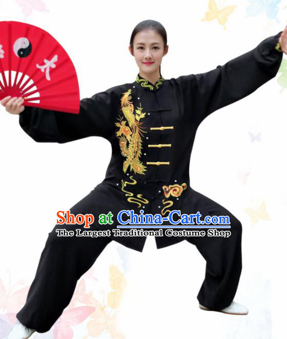 Professional Chinese Martial Arts Embroidered Phoenix Black Costume Traditional Kung Fu Competition Tai Chi Clothing for Women