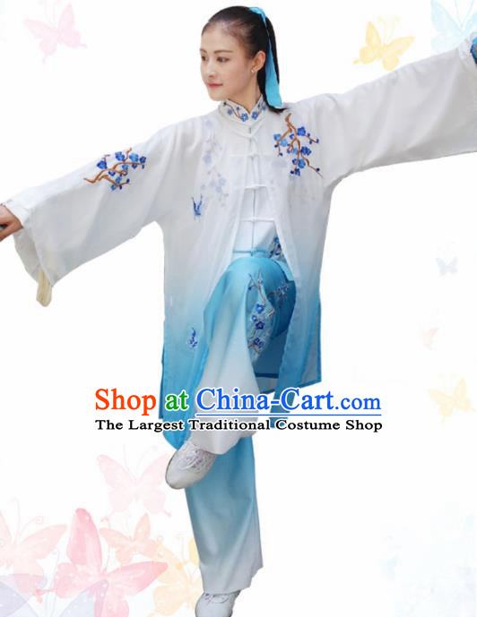 Professional Chinese Martial Arts Embroidered Plum Blue Costume Traditional Kung Fu Competition Tai Chi Clothing for Women