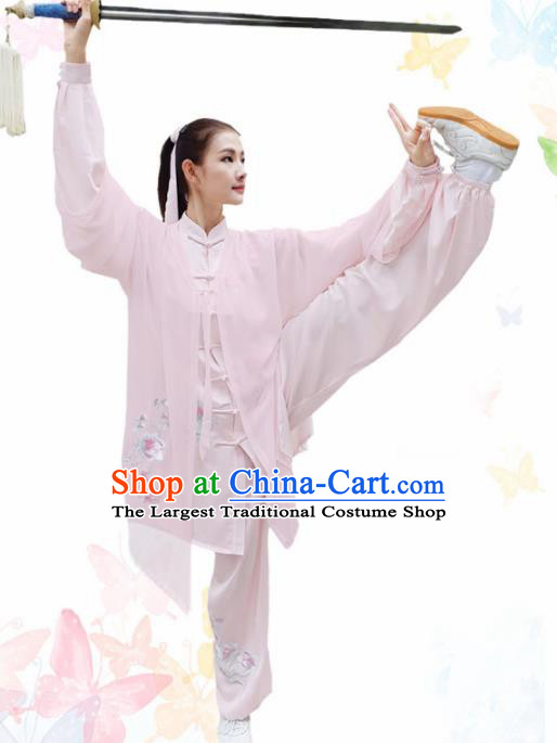 Professional Chinese Martial Arts Embroidered Magnolia Pink Costume Traditional Kung Fu Competition Tai Chi Clothing for Women