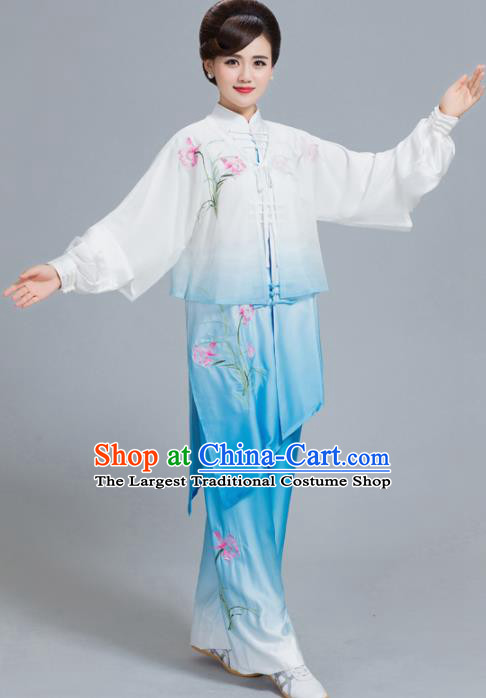 Professional Chinese Martial Arts Embroidered Lily Flower Blue Costume Traditional Kung Fu Competition Tai Chi Clothing for Women