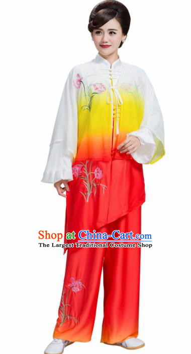 Professional Chinese Martial Arts Embroidered Lily Flower Orange Costume Traditional Kung Fu Competition Tai Chi Clothing for Women