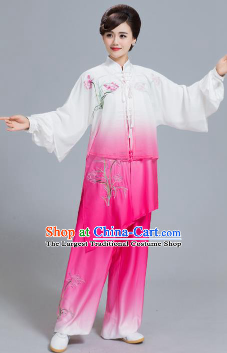 Professional Chinese Martial Arts Embroidered Lily Flower Rosy Costume Traditional Kung Fu Competition Tai Chi Clothing for Women