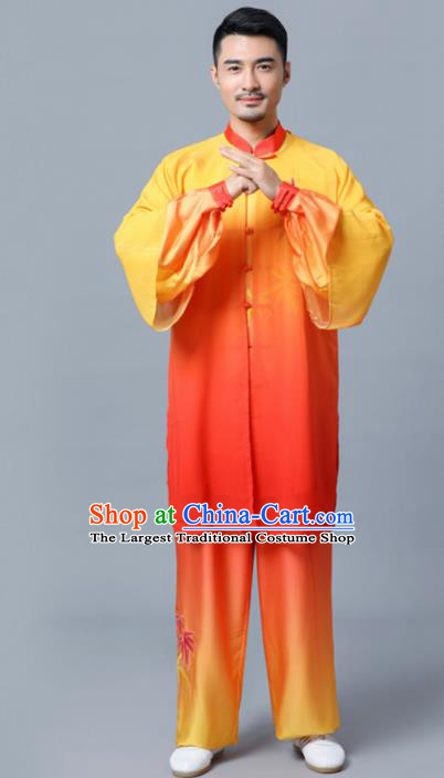 Traditional Chinese Martial Arts Competition Embroidered Bamboo Orange Uniforms Kung Fu Tai Chi Training Costume for Men