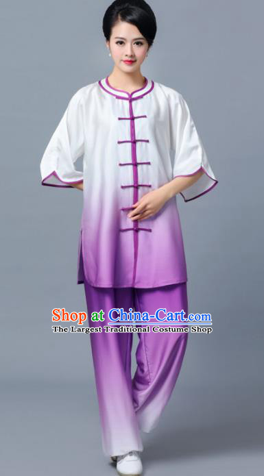 Professional Chinese Martial Arts Gradient Purple Costume Traditional Kung Fu Competition Tai Chi Clothing for Women