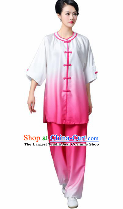 Professional Chinese Martial Arts Gradient Rosy Costume Traditional Kung Fu Competition Tai Chi Clothing for Women