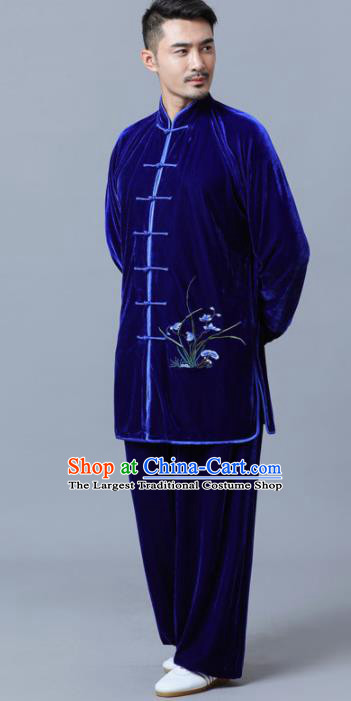 Traditional Chinese Martial Arts Competition Printing Orchid Royalblue Velvet Uniforms Kung Fu Tai Chi Training Costume for Men