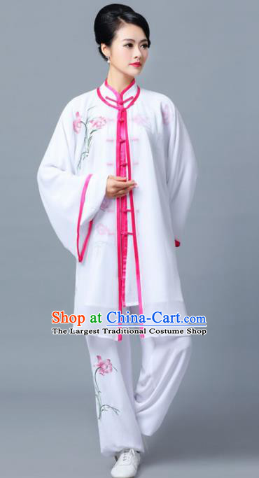 Professional Chinese Martial Arts Printing Orchid White Costume Traditional Kung Fu Competition Tai Chi Clothing for Women