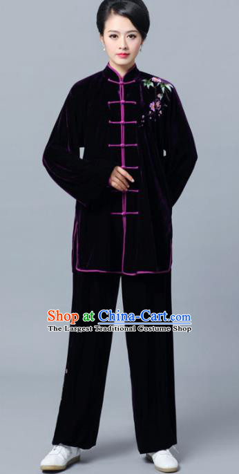 Professional Chinese Martial Arts Wine Red Velvet Costume Traditional Kung Fu Competition Tai Chi Clothing for Women