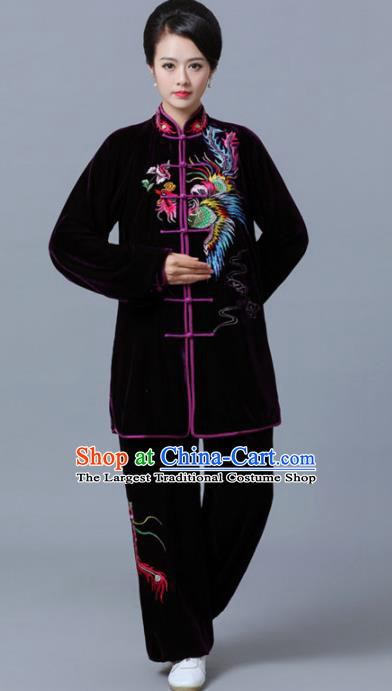 Professional Chinese Martial Arts Purple Velvet Costume Traditional Kung Fu Competition Tai Chi Clothing for Women
