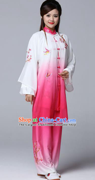 Professional Chinese Martial Arts Embroidered Plum Rosy Costume Traditional Kung Fu Competition Tai Chi Clothing for Women