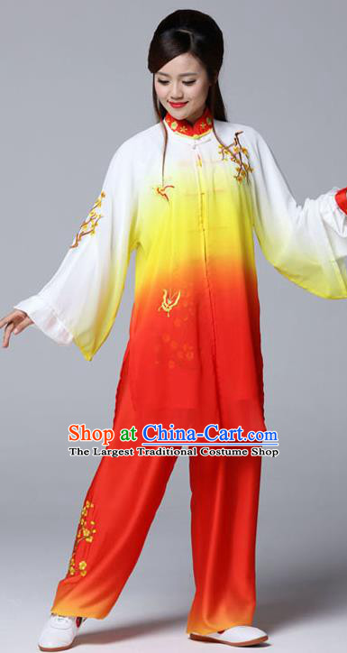 Professional Chinese Martial Arts Embroidered Plum Orange Costume Traditional Kung Fu Competition Tai Chi Clothing for Women