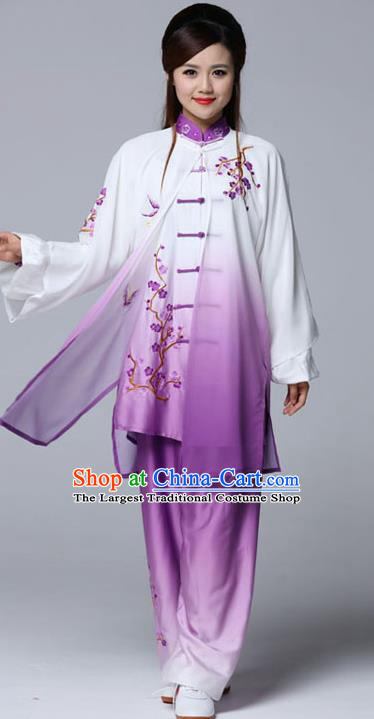 Professional Chinese Martial Arts Embroidered Plum Purple Costume Traditional Kung Fu Competition Tai Chi Clothing for Women