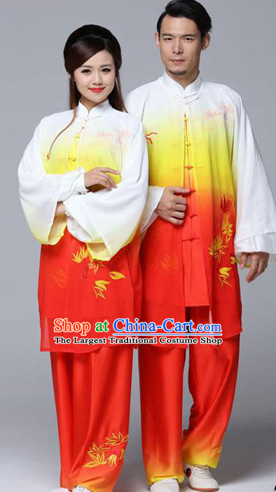 Professional Chinese Martial Arts Embroidered Bamboo Gradient Orange Costume Traditional Kung Fu Competition Tai Chi Clothing for Women