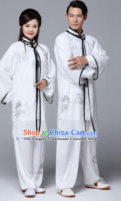 Traditional Chinese Martial Arts Competition Ink Painting White Uniforms Kung Fu Tai Chi Training Costume for Adults