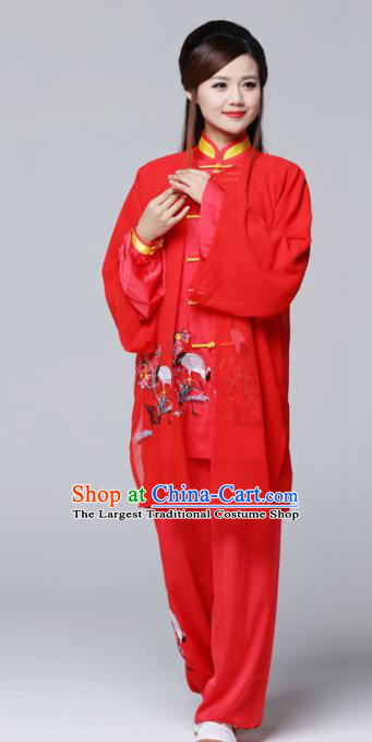 Professional Chinese Martial Arts Ink Painting Crane Red Costume Traditional Kung Fu Competition Tai Chi Clothing for Women