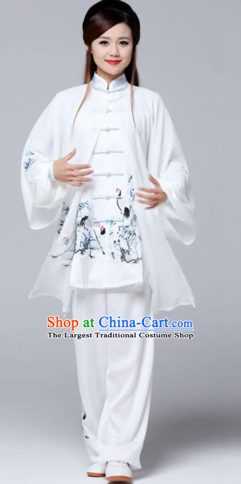 Professional Chinese Martial Arts Ink Painting Crane White Costume Traditional Kung Fu Competition Tai Chi Clothing for Women