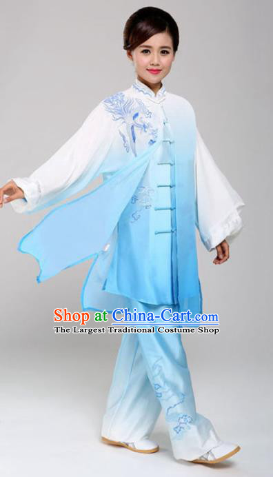 Professional Chinese Martial Arts Embroidered Blue Costume Traditional Kung Fu Competition Tai Chi Clothing for Women