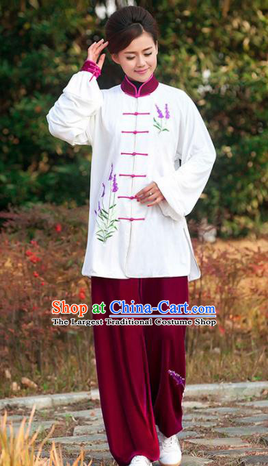 Professional Martial Arts Competition Embroidered Lavender Costume Chinese Traditional Kung Fu Tai Chi Clothing for Women