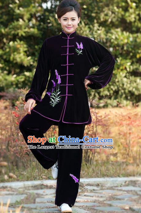 Professional Martial Arts Competition Embroidered Lavender Purple Costume Chinese Traditional Kung Fu Tai Chi Clothing for Women