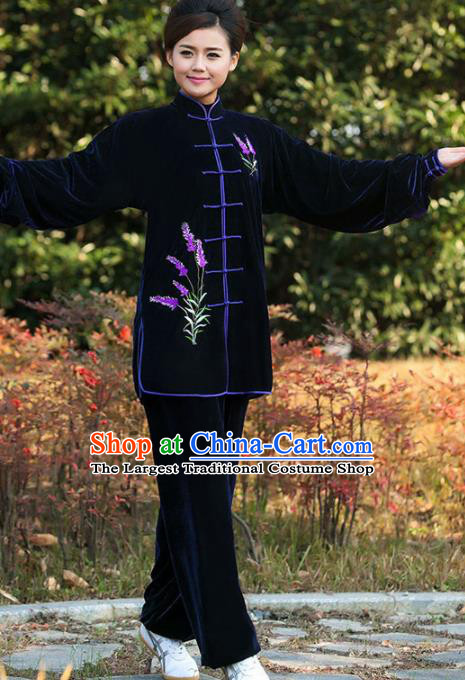 Professional Martial Arts Competition Embroidered Lavender Navy Costume Chinese Traditional Kung Fu Tai Chi Clothing for Women