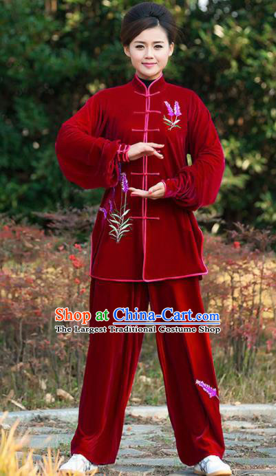 Professional Martial Arts Competition Embroidered Lavender Red Costume Chinese Traditional Kung Fu Tai Chi Clothing for Women
