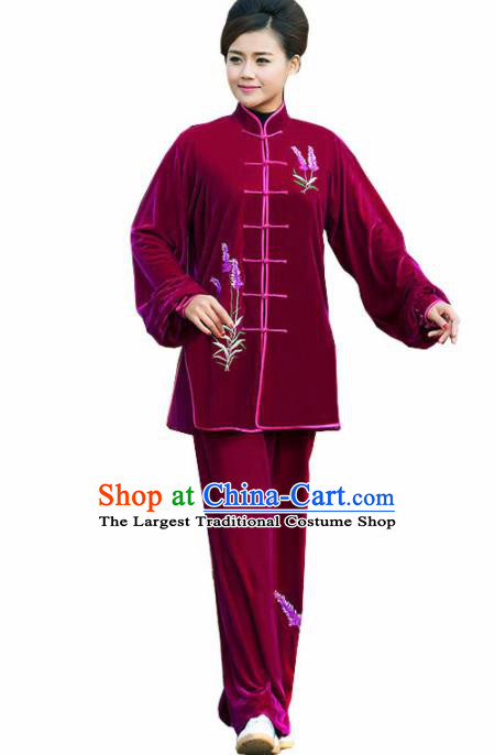 Professional Martial Arts Competition Embroidered Lavender Wine Red Costume Chinese Traditional Kung Fu Tai Chi Clothing for Women