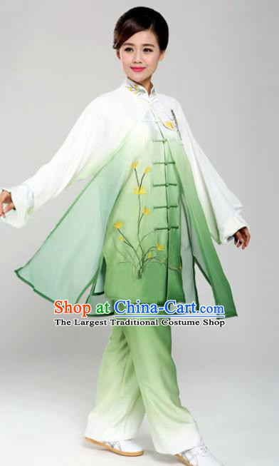 Professional Martial Arts Embroidered Orchid Green Costume Chinese Traditional Kung Fu Competition Tai Chi Clothing for Women