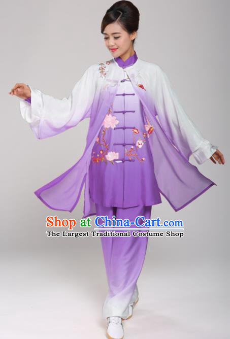 Professional Martial Arts Embroidered Magnolia Purple Costume Chinese Traditional Kung Fu Competition Tai Chi Clothing for Women