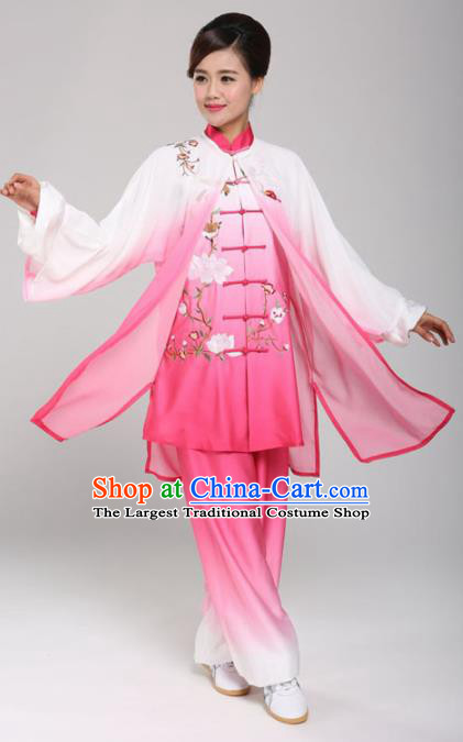 Professional Martial Arts Embroidered Magnolia Pink Costume Chinese Traditional Kung Fu Competition Tai Chi Clothing for Women