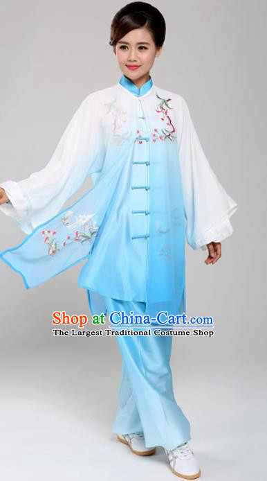 Professional Martial Arts Embroidered Magnolia Blue Costume Chinese Traditional Kung Fu Competition Tai Chi Clothing for Women