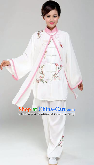 Professional Martial Arts Embroidered Magnolia White Costume Chinese Traditional Kung Fu Competition Tai Chi Clothing for Women