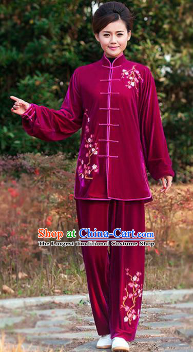 Professional Martial Arts Competition Embroidered Plum Wine Red Velvet Costume Chinese Traditional Kung Fu Tai Chi Clothing for Women