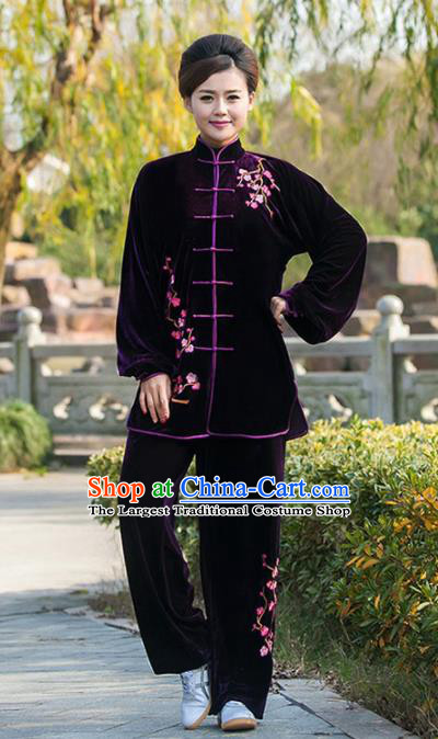 Professional Martial Arts Competition Embroidered Plum Purple Velvet Costume Chinese Traditional Kung Fu Tai Chi Clothing for Women