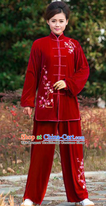 Professional Martial Arts Competition Embroidered Plum Red Velvet Costume Chinese Traditional Kung Fu Tai Chi Clothing for Women