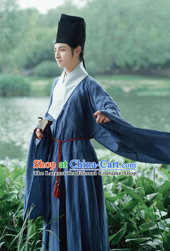 Traditional Chinese Ming Dynasty Scholar Navy Robe Ancient Drama Taoist Priest Replica Costumes for Men